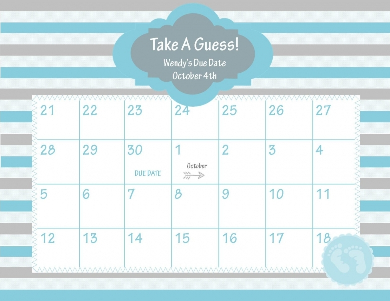 Printable Due Date Calendar Ba Shower Game Chicwrist3abry