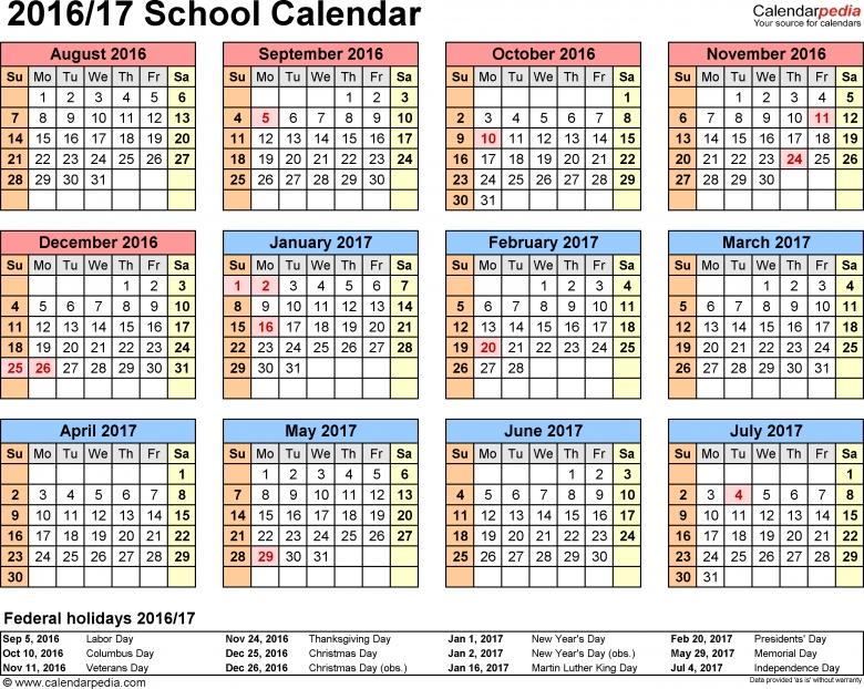 School Calendars 20162017 As Free Printable Word Templates3abry