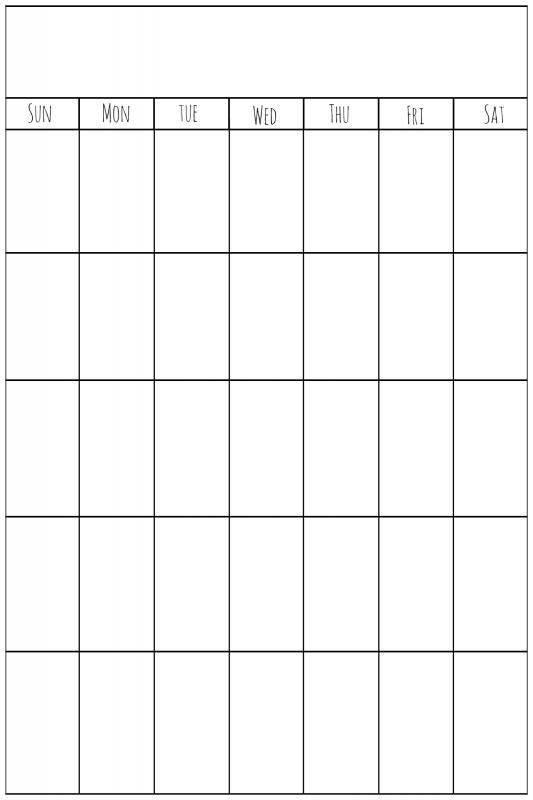 Calendar Templates Vertical : Blank vertical calendar free template