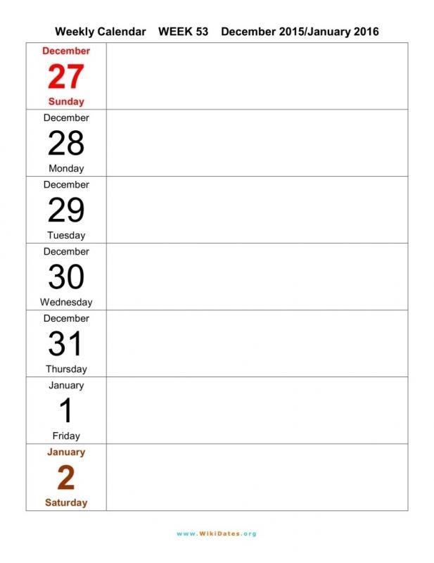 Weekly Printable Calendar Template Samples3abry