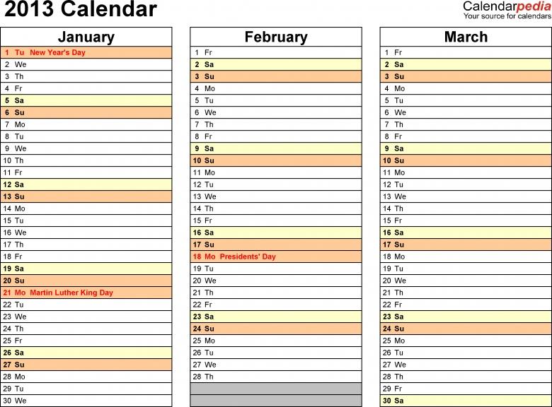 2013 Calendar Excel 11 Free Printable Templates Xlsxlsx  xjb