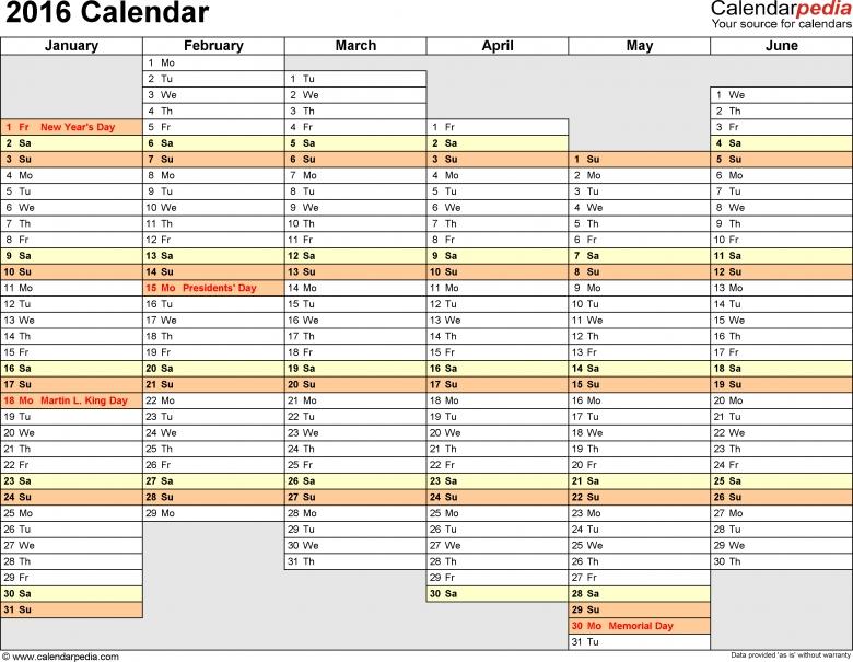 2016 Calendar Download 16 Free Printable Excel Templates Xls 89uj