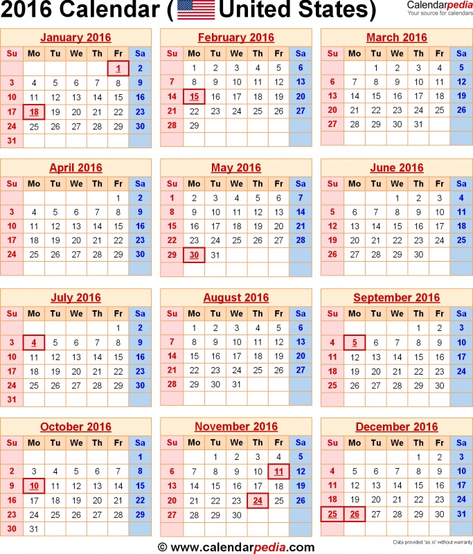 2016 Calendar With Federal Holidays Amp Excelpdfword Templates  xjb