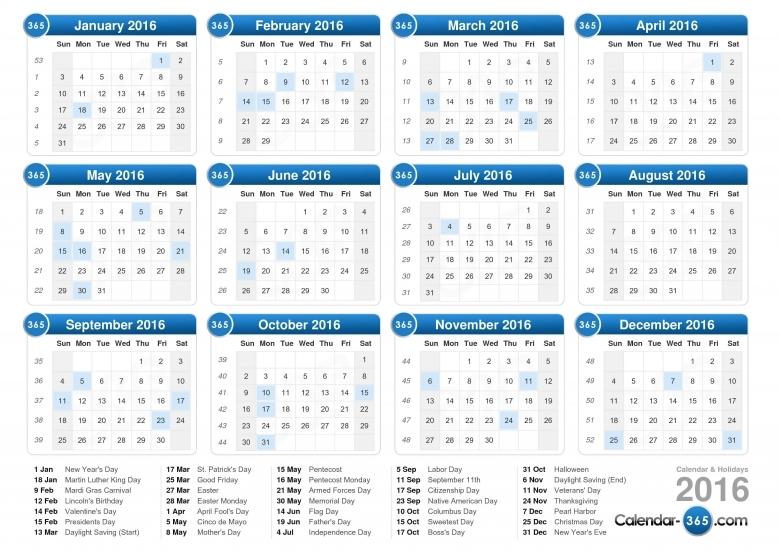 2016 Calendar  xjb