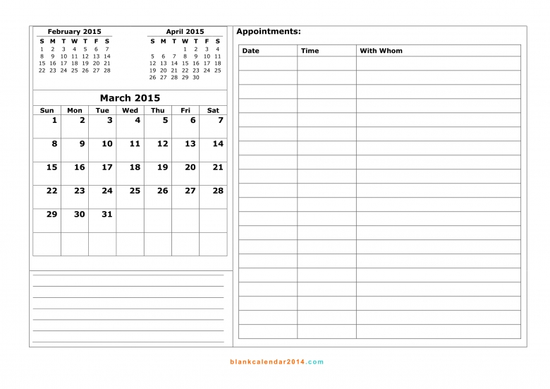 Calendar Templates With Notes : Free printable calendars with notes calendar template
