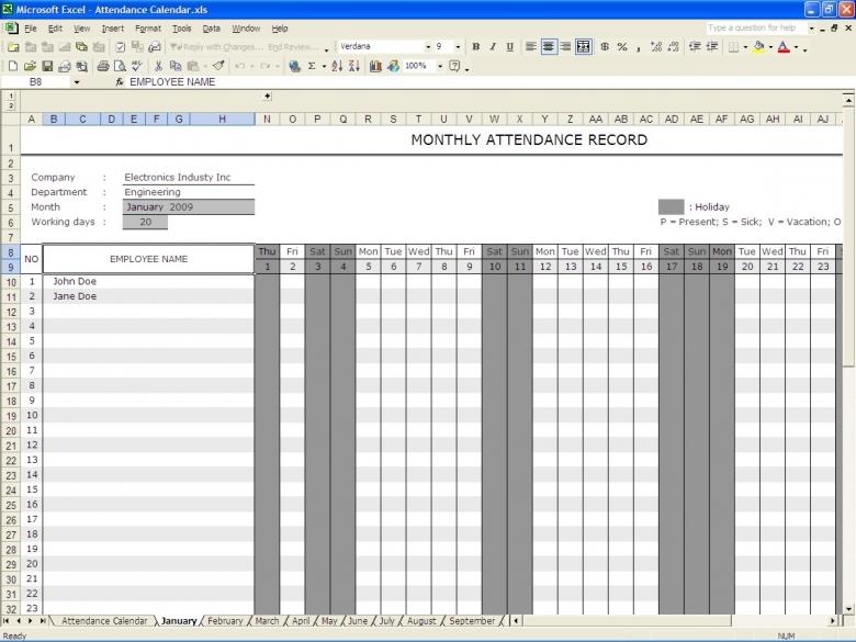 Attendance Calendar Excel Templates  xjb