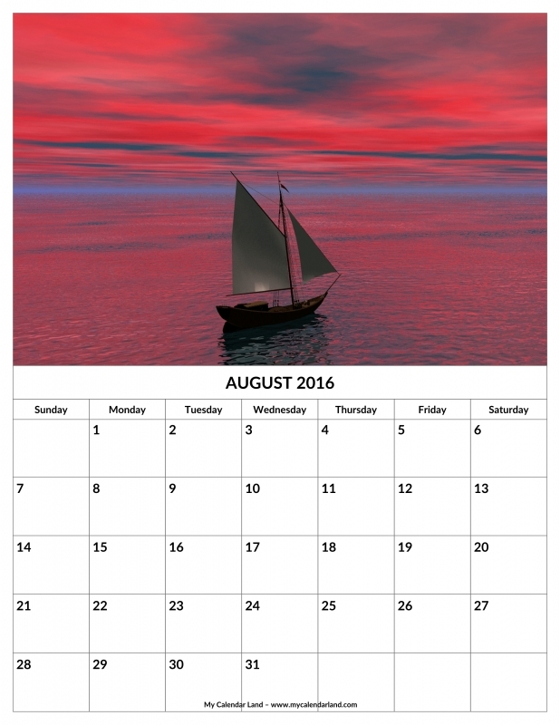 August 2016 Calendar My Calendar Land3abry