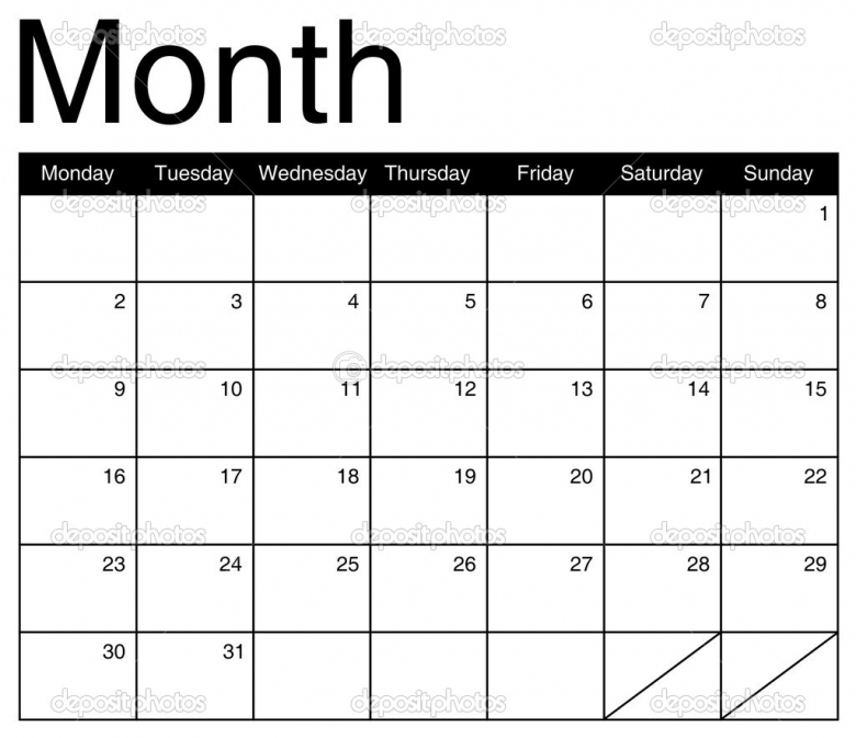 Basis For A Monthly Calendar Vector Stock Vector Annavee 30022273abry