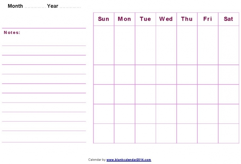 Monthly Calendar With Notes : Free printable calendars with notes calendar template