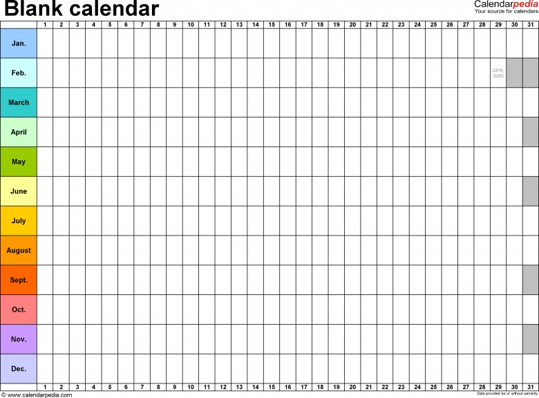 Blank Calendar 9 Free Printable Microsoft Word Templates 89uj