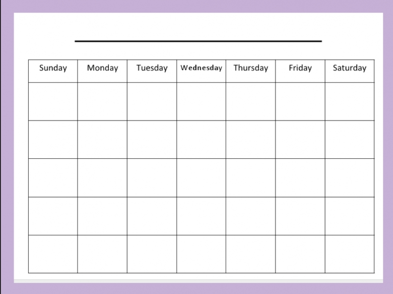 Blank Kids Calendar Free Calendar Template