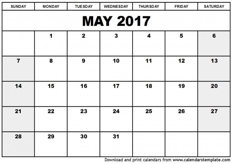 Free May 2017 Calendar With Us Holidays Printable Calendar  xjb