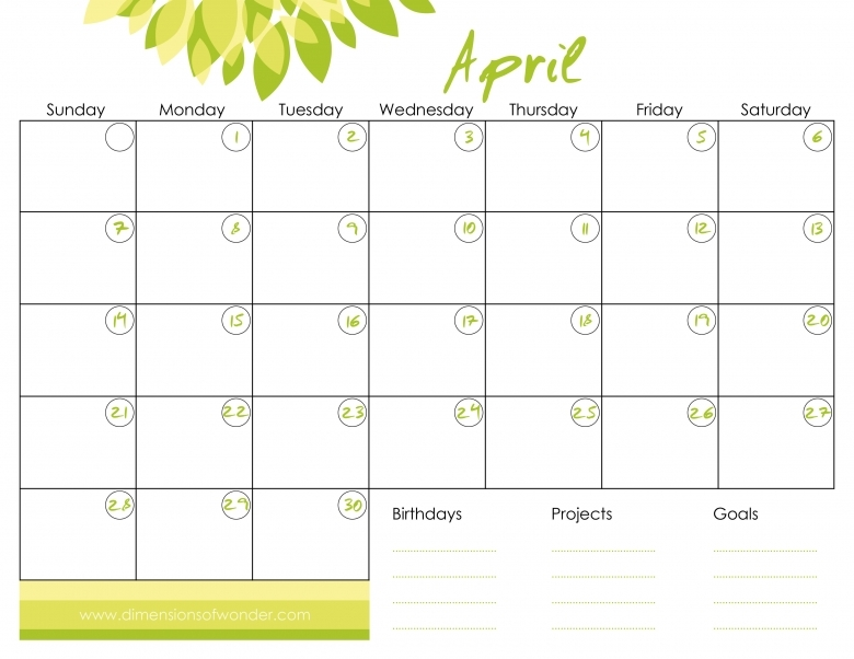 Free Printable Monthly Calendar Wanchopecostarica3abry