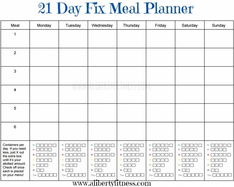 21-day Fix Blank Calendar Printable :-Free Calendar Template