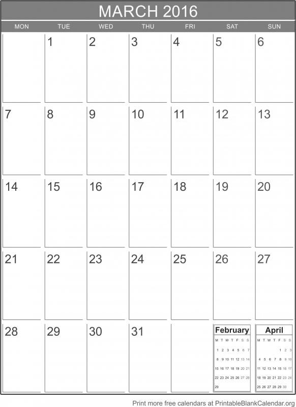 March 2016 Printable Blank Calendar Printable Blank Calendar  xjb