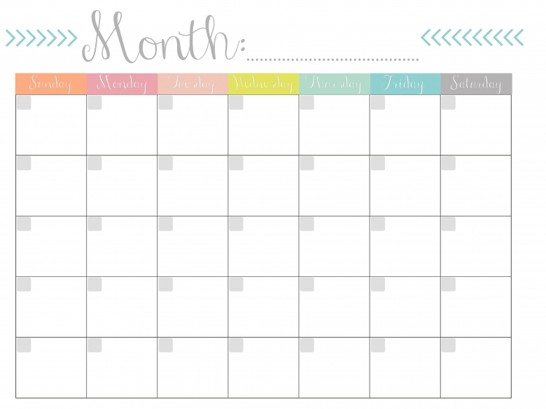 Monthly Calendar Free Printable 89uj