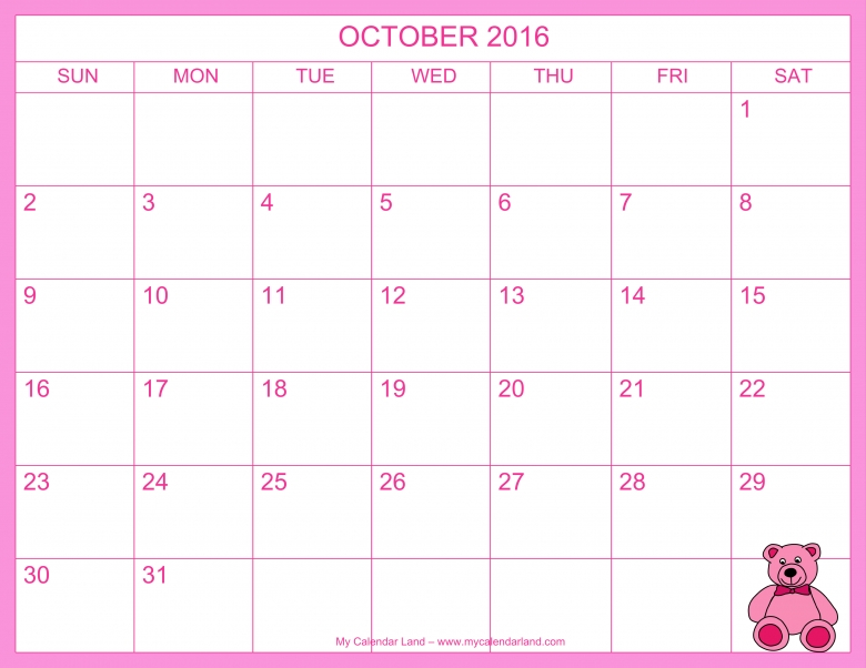 October 2016 Calendar My Calendar Land  xjb