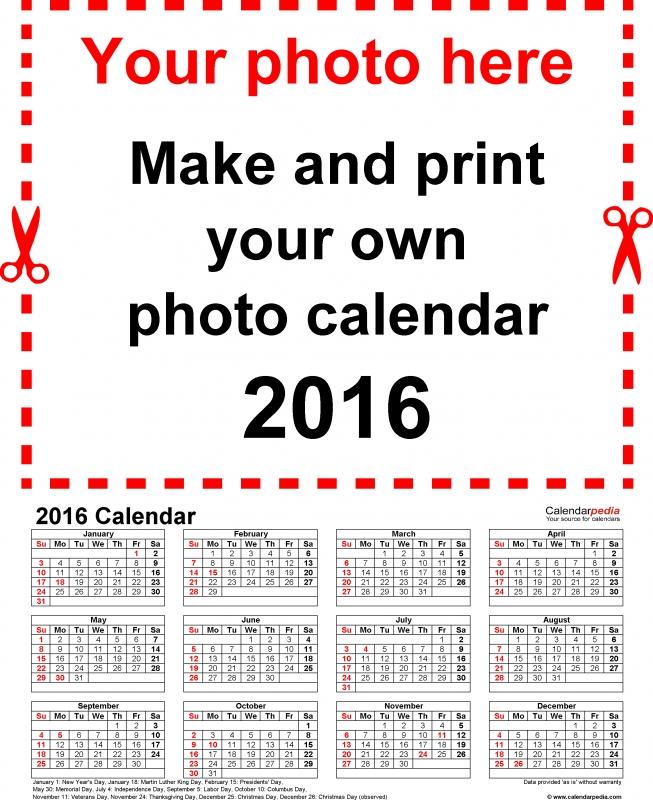 Photo Calendar 2016 Free Printable Word Templates  xjb