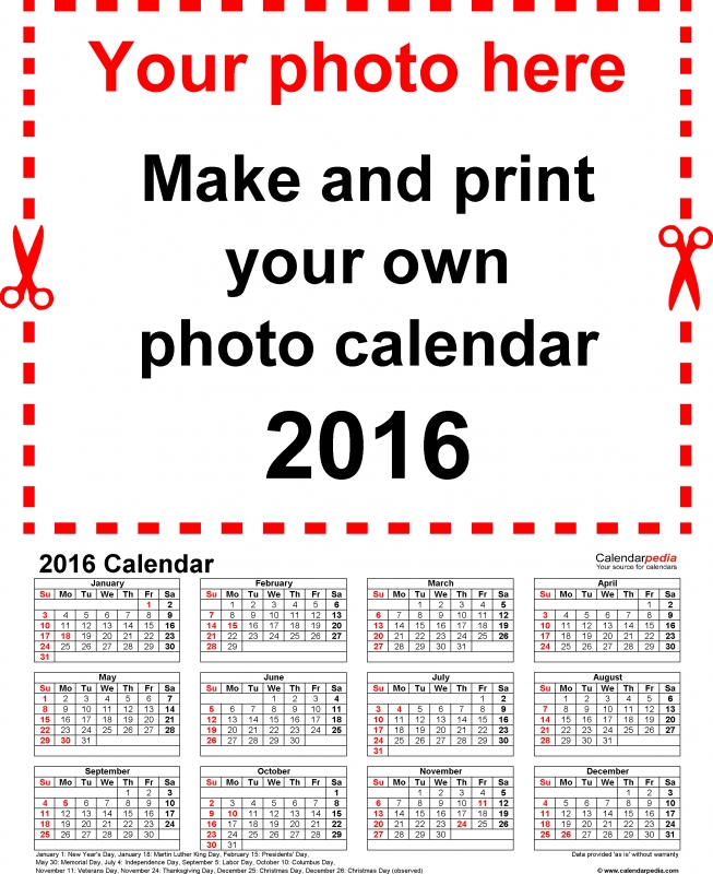 Photo Calendar 2016 Free Printable Word Templates  xjb