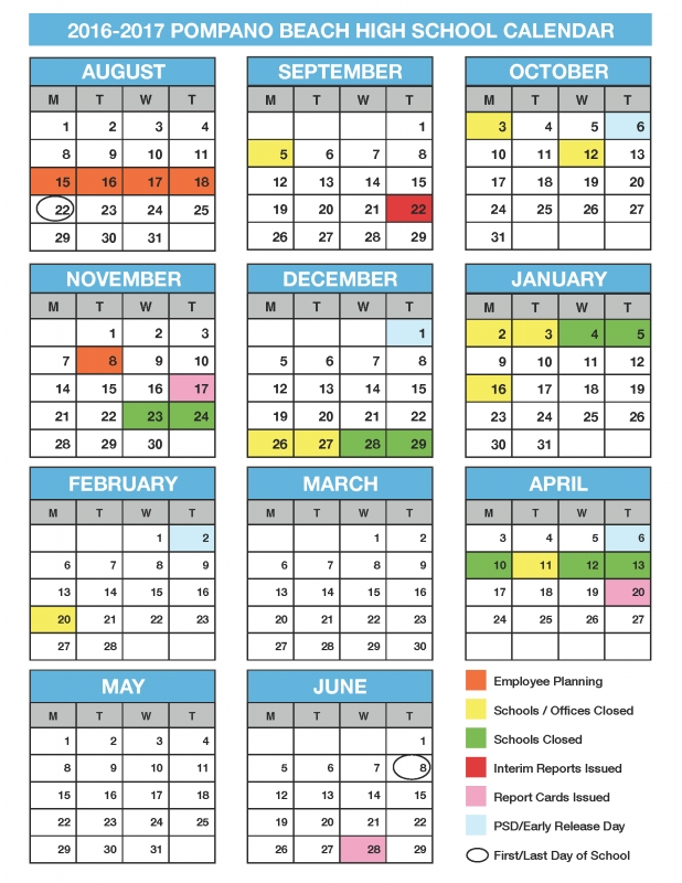 Pompano Beach High School 2016 2017 Academic Calendar3abry