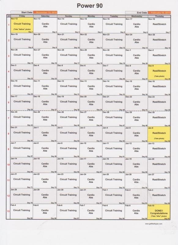 Power90 Printable Calendar Get Fit With Grav  xjb