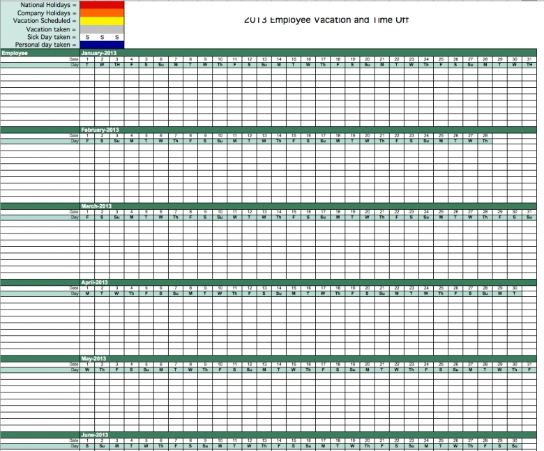 2013 Employee Vacation Tracking Calendar Template 89uj