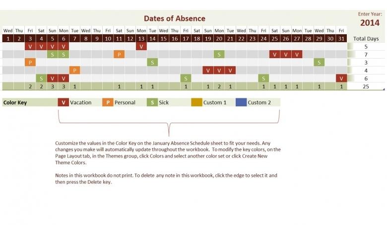2014 Employee Vacation Tracking Calendar Template 89uj