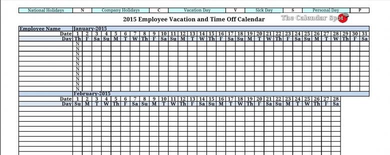 2015 Employee Vacation Absence Tracking Calendar 2015 Printable 89uj