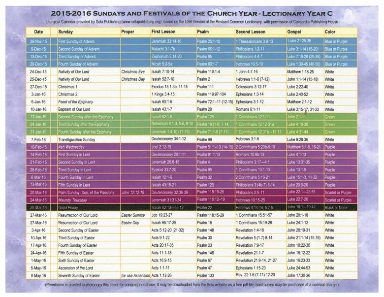 2016 Liturgical Calendar Year C 2015 2016 K 2016 Sola Publishing3abry