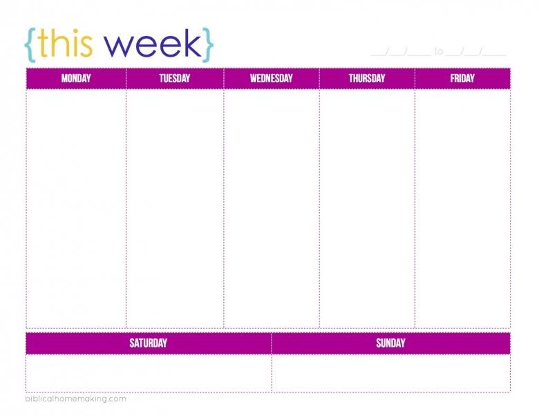 5 Day Weekly Calendar Daily Agenda Calendar  xjb