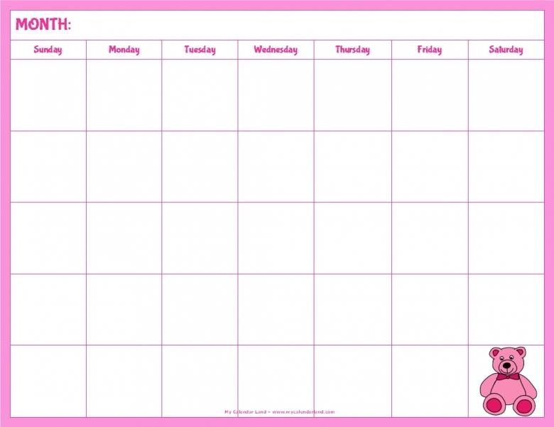Blank Calendar Printable For Kids Calendar Template  xjb
