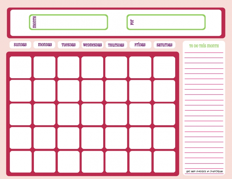 Blank Month Calendar Pinks Free Printable Downloads From Choretell  xjb