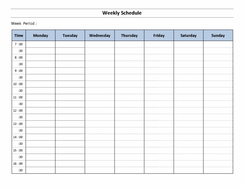 Blank Weekly Schedule One Week Schedule Template Planner Templat  xjb