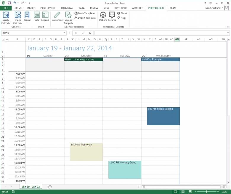 Customize And Print Calendar Templates In Excel And Word 89uj