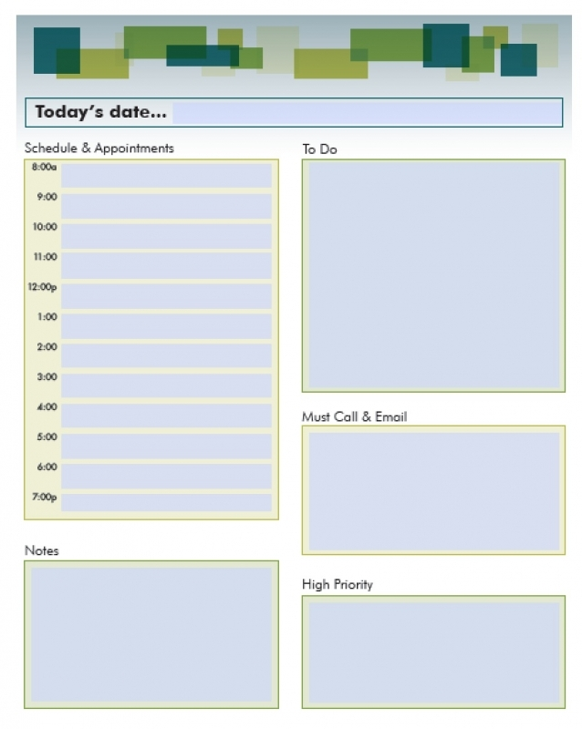 Fillable Daily Planning Calendar Free Calendar Template