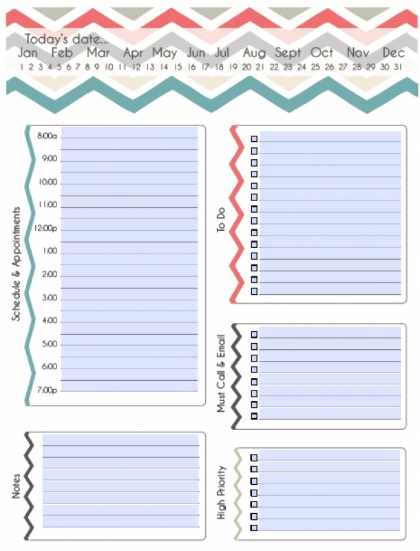 Fillable Daily Planning Calendar