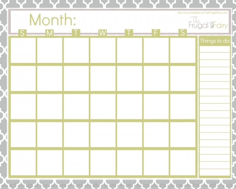 Blank Calendar To Fill In : Fill in calendar free template