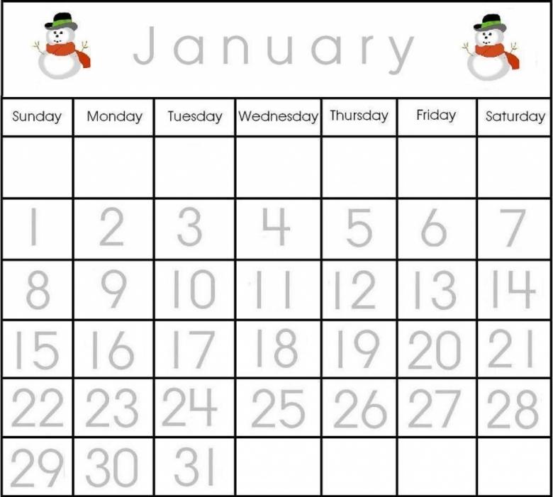 Numbers For Calendar Printables : Preschool calendar numbers template free