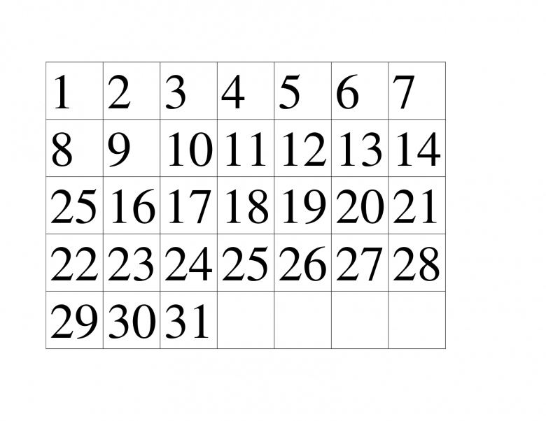 Printable Calendar Numbers 1 31 2017 Calendar 20173abry