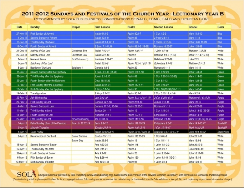 United Methodist Church Lectionary Calendar Blank Calendar3abry