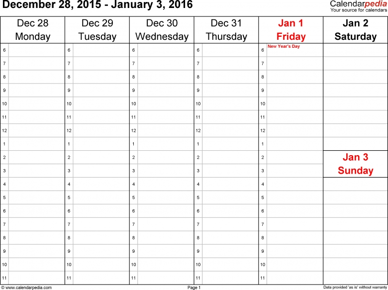 Weekly Calendar 2016 For Excel 12 Free Printable Templates 89uj