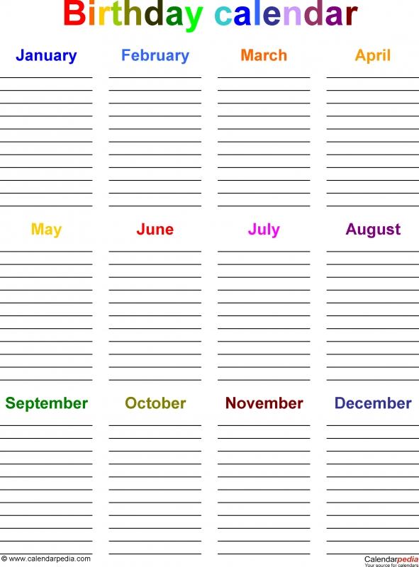 Birthday Calendars 7 Free Printable Word Templates3abry