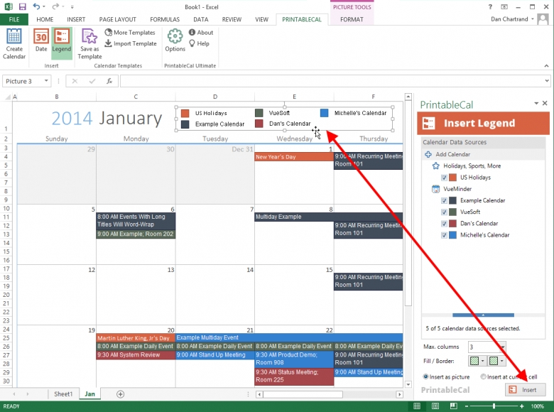 Insert A Color Coded Calendar Legend In Excel And Word  xjb
