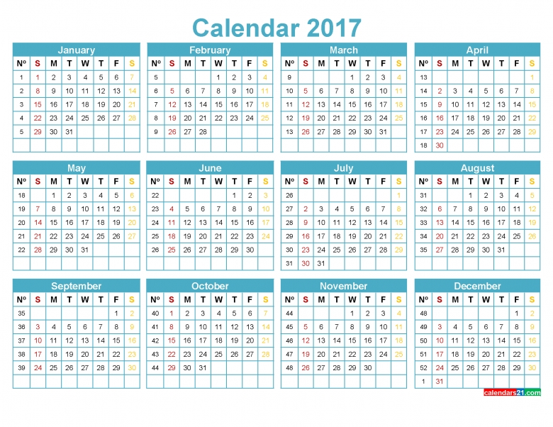 Printable 2017 Calendar With Week Numbers Yearly Calendar Red 89uj
