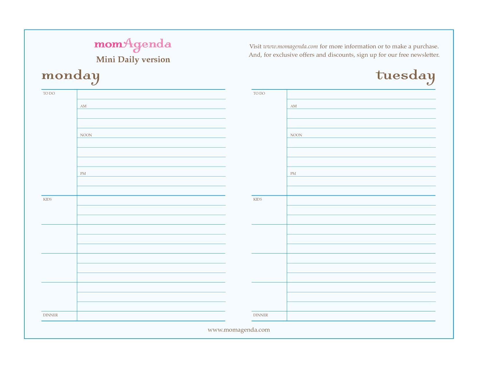 Free Printable Daily Planner Calendar Template