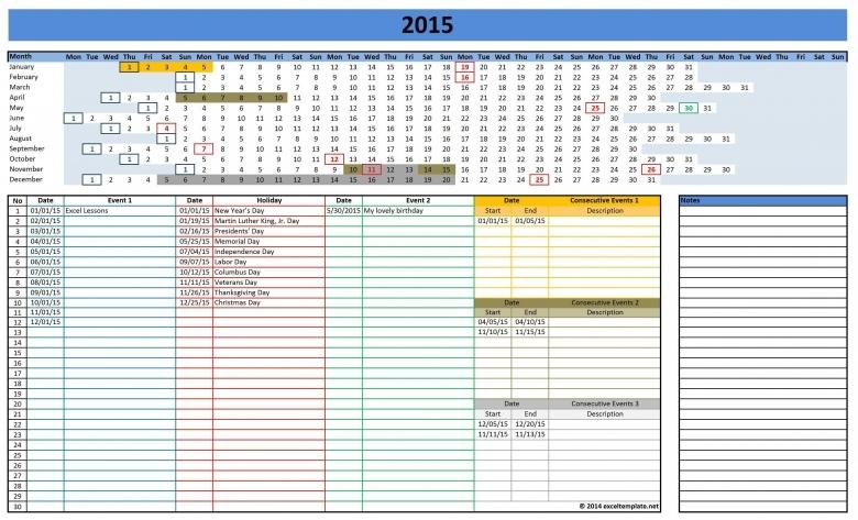 2016 Calendars Excel Templates3abry