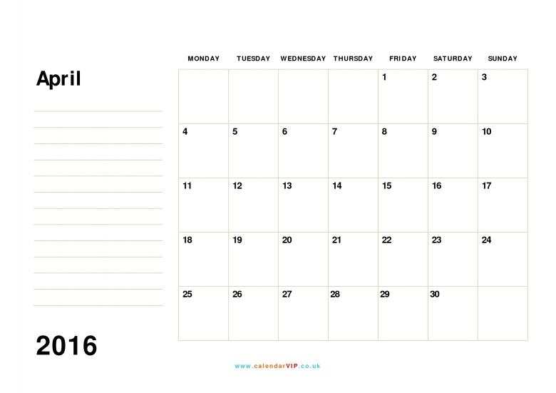 April 2016 Calendar Free Monthly Calendar Templates For Uk  xjb