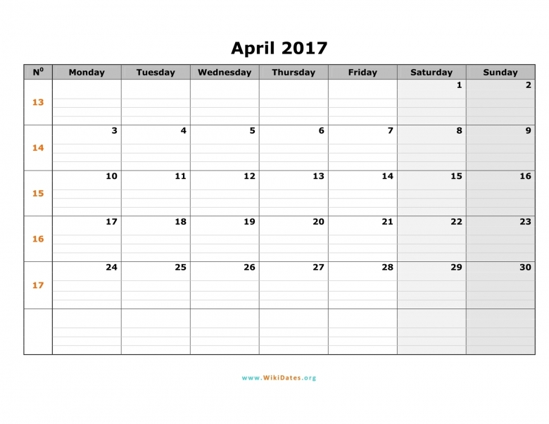 April 2017 Calendar Pdf Word Document Excel Sheet Vertical  xjb