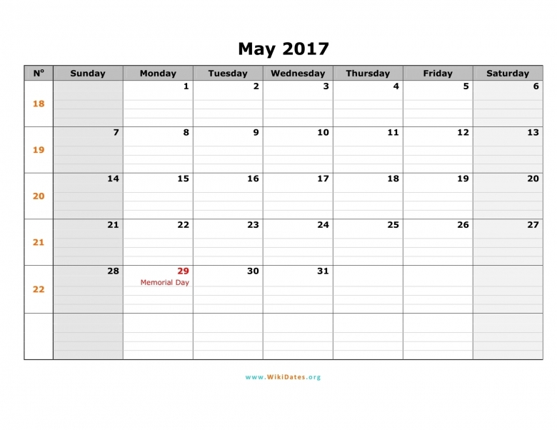 May 2017 Calendar Fillable Free Print Calendar For All Month  xjb