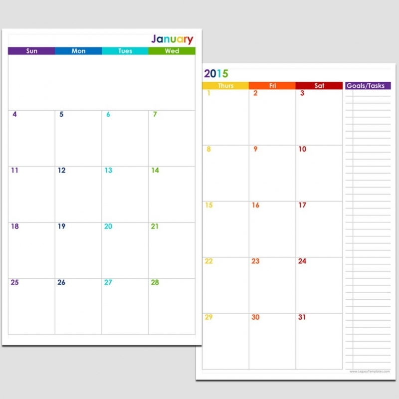 2015 12 Month 2 Page Calendar Half Size Legacy Templates3abry